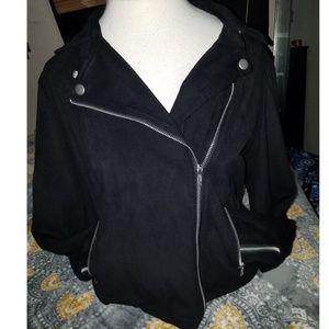 Suede moto zip jacket